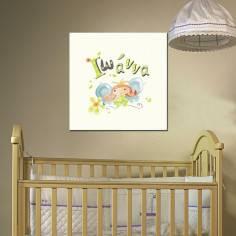 Πεταλουδίτσα, με όνομα, παιδικός - βρεφικός πίνακας σε καμβά