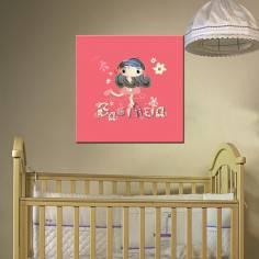 Αξιαγάπητη, με όνομα, παιδικός - βρεφικός πίνακας σε καμβά
