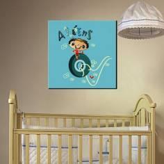 Ο ζωηρούλης, με όνομα, παιδικός - βρεφικός πίνακας σε καμβά