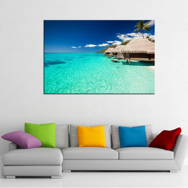 Εξωτική παραλία, πίνακας σε καμβά