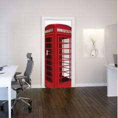 Αυτοκόλλητο πόρτας, Αυτοκόλλητο πόρτας, Αγγλικός τηλεφωνικός θάλαμος 3D cad