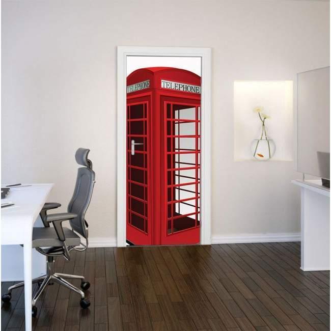 Αγγλικός τηλεφωνικός θάλαμος 3D cad, αυτοκόλλητο πόρτας