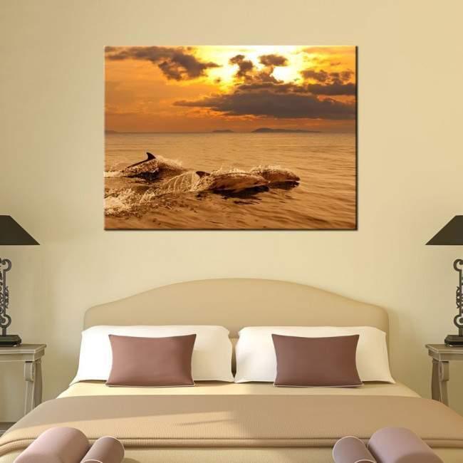 Δελφίνια στο ηλιοβασίλεμα, πίνακας σε καμβά