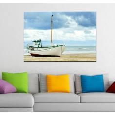Πίνακας σε καμβά, βάρκα σε παραλία, Lonely boat