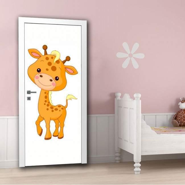 Cute girrafe, αυτοκόλλητο πόρτας παιδικό