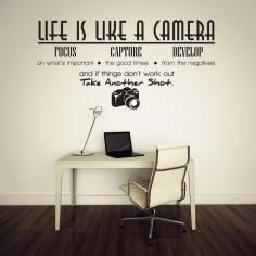 Αυτοκόλλητο τοίχου, φράσεις. Life is like a camera
