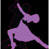 Ζευγάρι χορευτών εναλλακτικά χρώματα, αυτοκόλλητο τοίχου, κοντινό