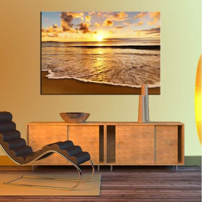 Colors of sunset at beach, πίνακας σε καμβά