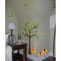 Αυτοκόλλητα τοίχου παιδικά, Δέντρο με καμηλοπάρδαλη, ελεφαντάκια και μαϊμούδες, συνδυασμός 5