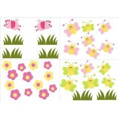Πεταλούδες , πουλάκια, λουλούδια και γρασίδι , αυτοκόλλητα τοίχου.