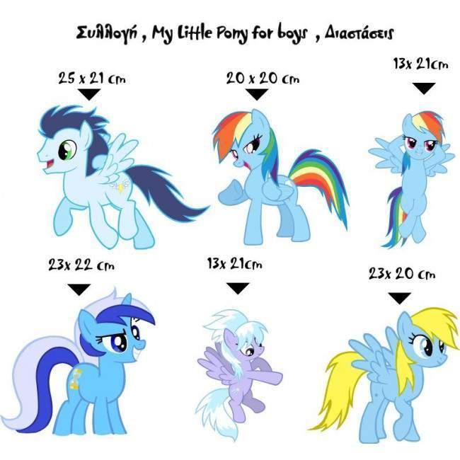 My little pony for boys, συλλογή αυτοκόλλητα τοίχου.