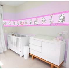 Μπορντούρα, αυτοκόλλητο τοίχου, Κουνελάκια παντού ροζ