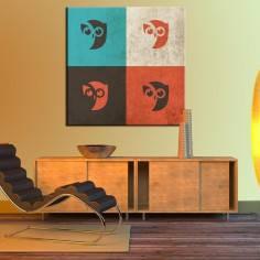 Πίνακας σε καμβά, Owls retro