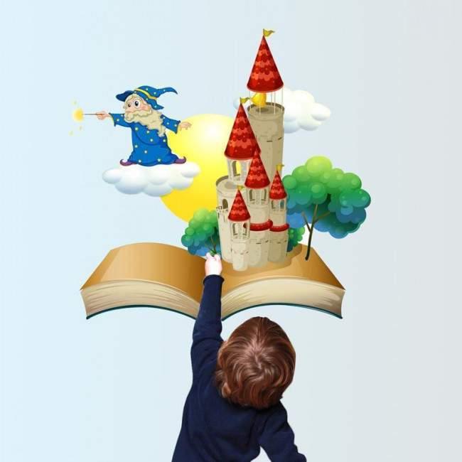 Μαγικό βιβλίο με κάστρο και μάγο, αυτοκόλλητο τοίχου