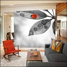 Lady bug on leaf, ταπετσαρία τοίχου φωτογραφική