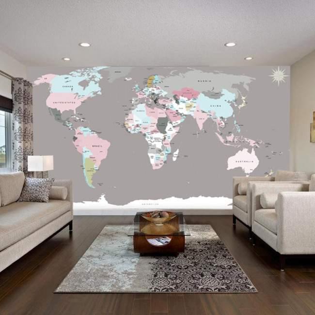World map , Φωτογραφική ταπετσαρία αυτοκόλλητη , χρωμ. συνδυασμοί 1