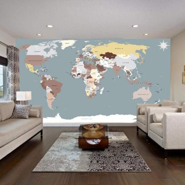 World map , Φωτογραφική ταπετσαρία αυτοκόλλητη , χρωμ. συνδυασμοί 2
