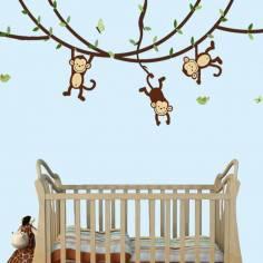 Monkeys, Lets play! , αυτοκόλλητο τοίχου με χαριτωμένα μαιμουδάκια