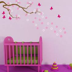 Butterfly Blowing Cherry Blossom, white and pink flowers, αυτοκόλλητο τοίχου με ανθισμλενο κλαδί κερασιάς