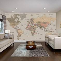 World map, φωτογραφική ταπετσαρία, χρωμ. συνδυασμοί ΙΙΙ