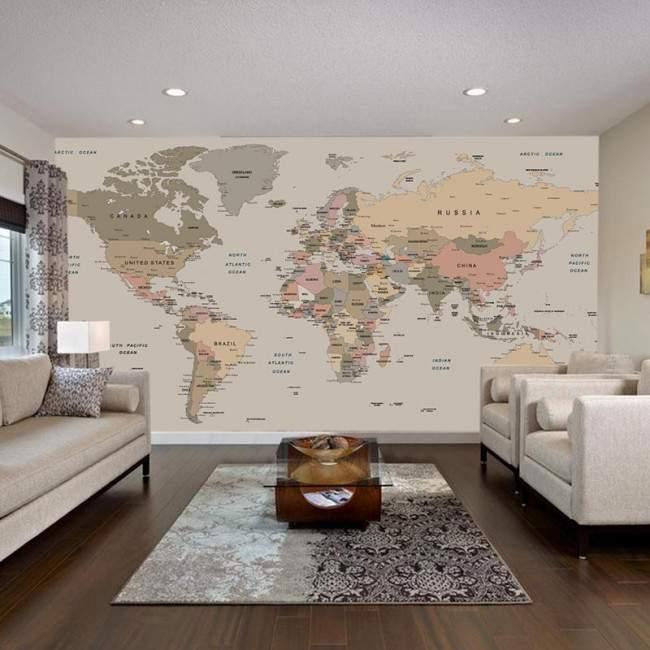 World map , Φωτογραφική ταπετσαρία αυτοκόλλητη , χρωμ. συνδυασμοί 3