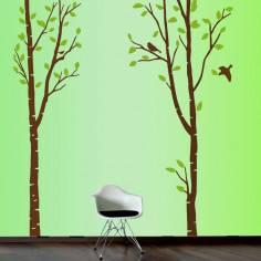 Αυτοκόλλητο τοίχου, μεγάλα δέντρα και πουλιά, Art Tree