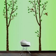 Αυτοκόλλητο τοίχου, μεγάλα δέντρα και πουλιά, Art Tree, dark colors