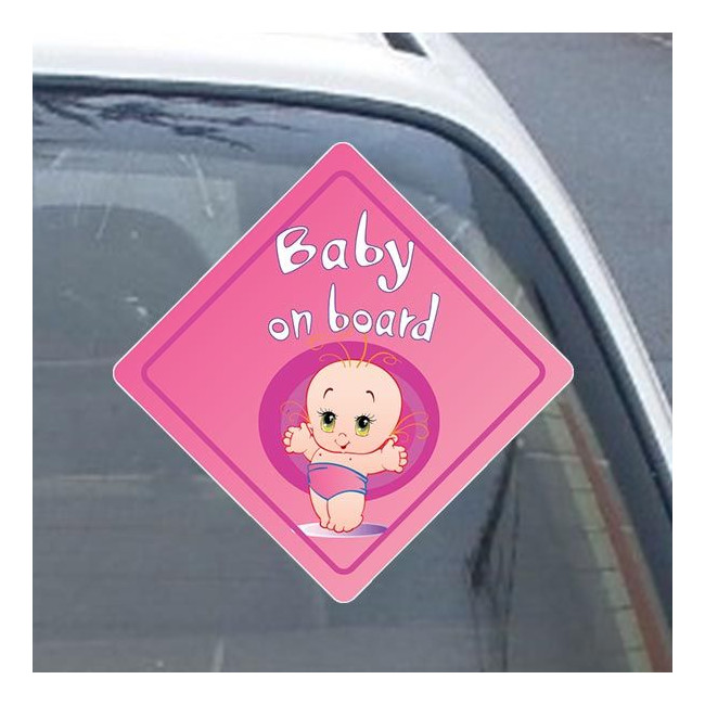 Baby girl on board! , Αυτοκόλλητο αυτοκινήτου ( Εξ. επικόλληση)