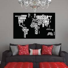 Ο κόσμος σε λέξεις Black & colors, πίνακας σε καμβά