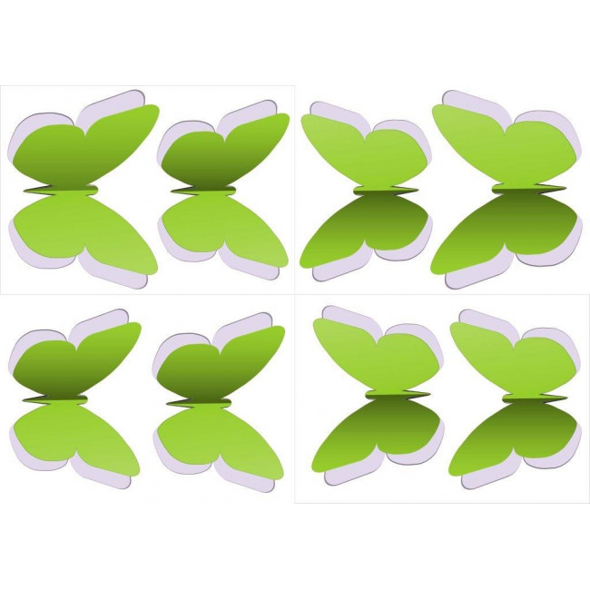 Σετ Δίχρωμες Πεταλούδες green , αυτοκόλλητο τοίχου