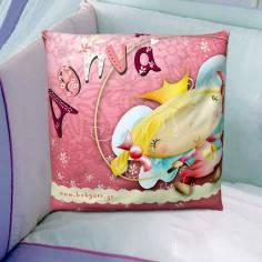 Πριγκίπισσα , 100 % βαμβακερό διακοσμητικό μαξιλάρι, με το όνομα που θέλετε!
