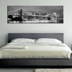 Πίνακας σε καμβά, New York city grayscale, πανοραμικός