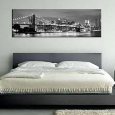 New York City grayscale , πανοραμικός πίνακας σε καμβά