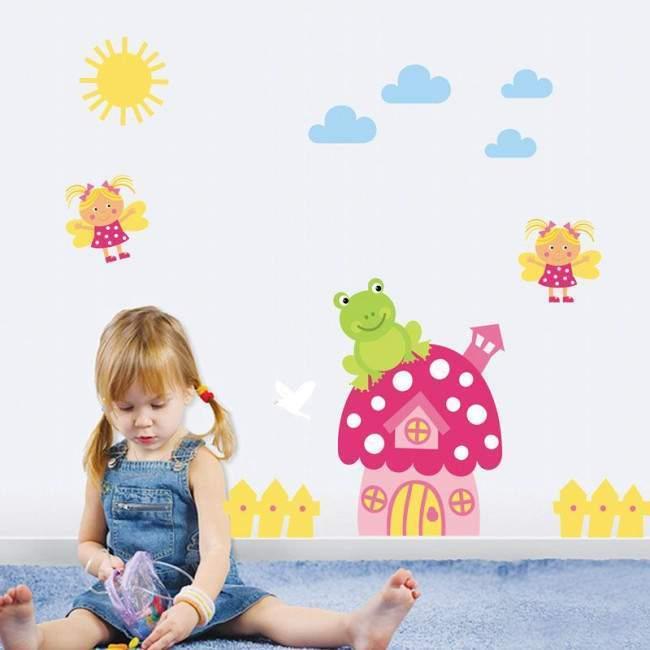 Φραουλόσπιτο και μελισσούλες, μικρή παράσταση αυτοκόλλητα τοίχου