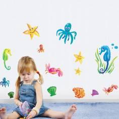 Sea set, αυτοκόλλητα τοίχου με πολλά θαλασσινά ζωάκια , ψάρια και κοχύλια