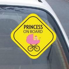 My princess on board! , Αυτοκόλλητο αυτοκινήτου ( Εξ. επικόλληση)