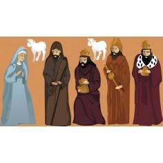 Η Μαρία , ο Ιωσήφ και οι τρεις μάγοι , αυτοκόλλητες φιγούρες για φάτνη