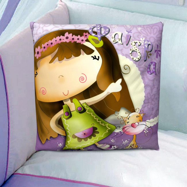 Lovely kity and..., 100 % βαμβακερό διακοσμητικό μαξιλάρι, με το όνομα που θέλετε!