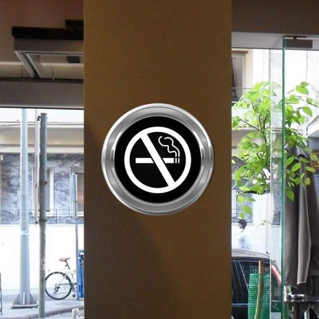 Απαγορεύεται το κάπνισμα , αυτοκόλλητη πινακίδα σε διάφορα χρώματα