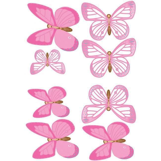 8 μεγάλες Ροζ πεταλούδες , αυτοκόλλητα τοίχου