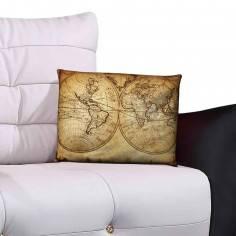 Vintage old map, 100 % βαμβακερό διακοσμητικό μαξιλάρι