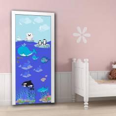 Ζωάκια της θάλασσας ,αυτοκόλλητο πόρτας παιδικό