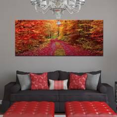 Πανδαισία φθινοπωρινών χρωμάτων , πανοραμικός πίνακας σε καμβά
