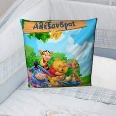 Winnie the pooh, 100 % βαμβακερό διακοσμητικό μαξιλάρι, με το όνομα που θέλετε!