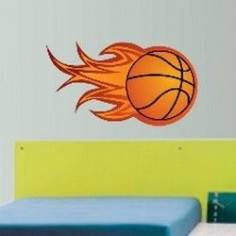 Φλεγόμενη Μπάλα Μπάσκετ Αυτοκόλλητο τοίχου