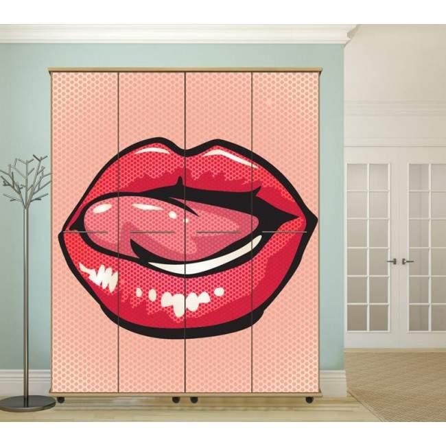 Lips ,αυτοκόλλητο ντουλάπας popart