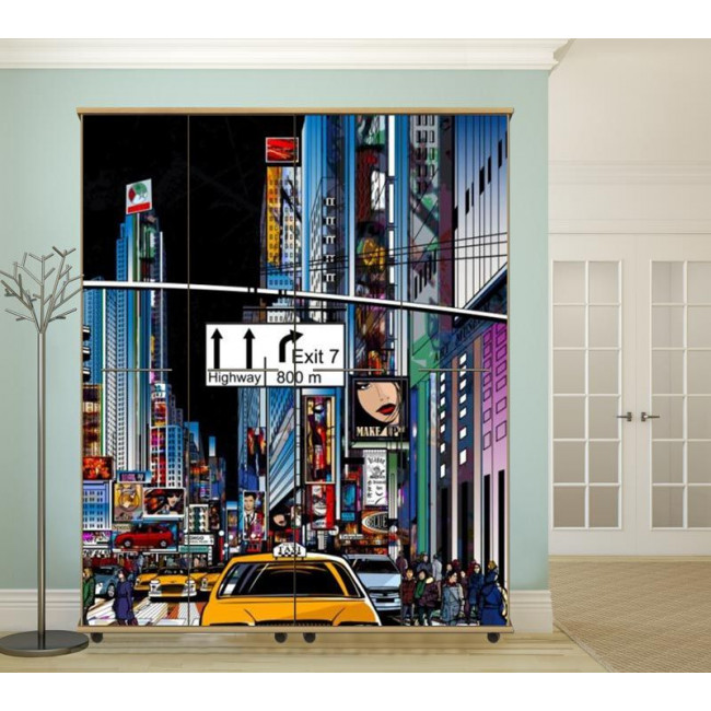 New york vector art 2, αυτοκόλλητο ντουλάπας