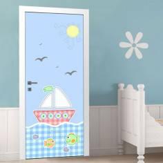 Ενα μικρό καράβι ,αυτοκόλλητο πόρτας παιδικό