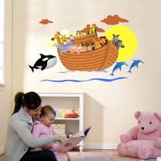 Κιβωτός του Νώε, παράσταση σε αυτοκόλλητα τοίχου με πολλά ζωάκια, ήλιο και θάλασσα