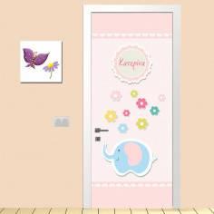 Vintage pink,αυτοκόλλητο πόρτας παιδικό